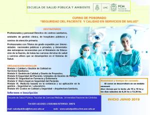 """Curso de Postgrado: """"Seguridad del Paciente y Calidad en Servicios de Salud"""""""